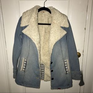 FREE PEOPLE Shearling Denim Embroidered Jacket